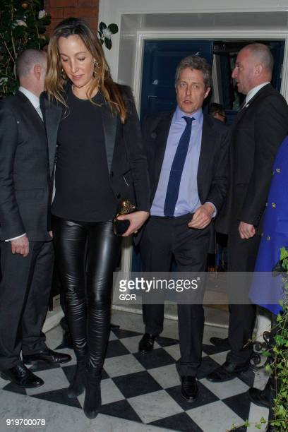 Hugh Grant and Anna Eberstein attending pre Bafta dinner at Marks club Mayfair on February 17 2018 in London England