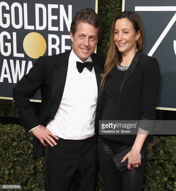 Hugh Grant and Anna Eberstein attends The 75th Annual Golden Globe Awards at The Beverly Hilton Hotel on January 7 2018 in Beverly Hills California