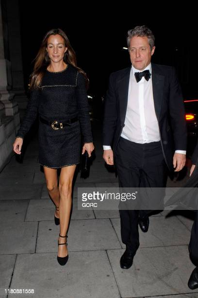 Hugh Grant and Anna Eberstein seen arriving at the Freemason's Hall in Covent Garden for the after-party for the film premiere of The Irishman on...