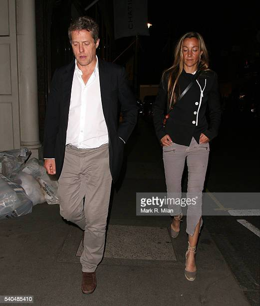 Hugh Grant and Anna Eberstein sighting on June 15 2016 in London England