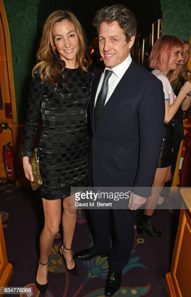 Hugh Grant and Anna Elisabet Eberstein attend a pre BAFTA party hosted by Charles Finch and Chanel at Annabel's on February 11 2017 in London England