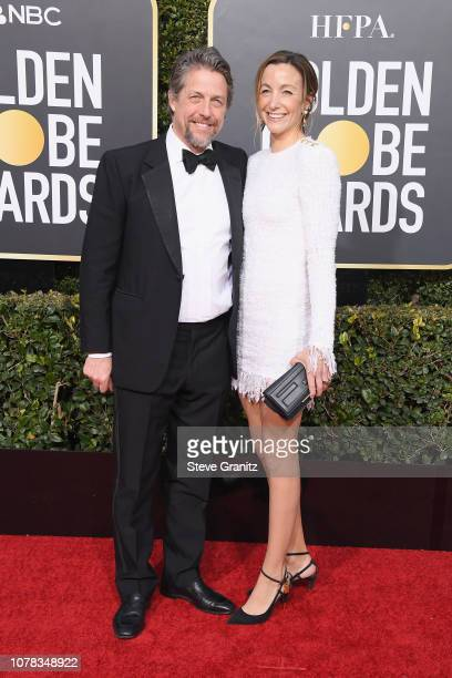 Hugh Grant and Anna Elisabet Eberstein attend the 76th Annual Golden Globe Awards at The Beverly Hilton Hotel on January 6 2019 in Beverly Hills...
