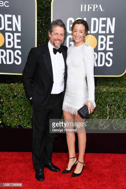 Hugh Grant and Anna Elisabet Eberstein attend the 76th Annual Golden Globe Awards held at The Beverly Hilton Hotel on January 06 2019 in Beverly...