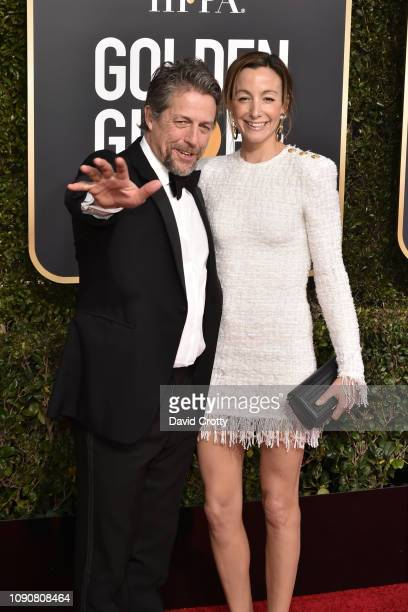 Hugh Grant and Anna Elisabet Eberstein attend the 76th Annual Golden Globe Awards at The Beverly Hilton Hotel on January 06 2019 in Beverly Hills...
