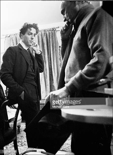 Hugh Grant and director James Ivory filming 'Maurice' on location at King's College Cambridge 1986