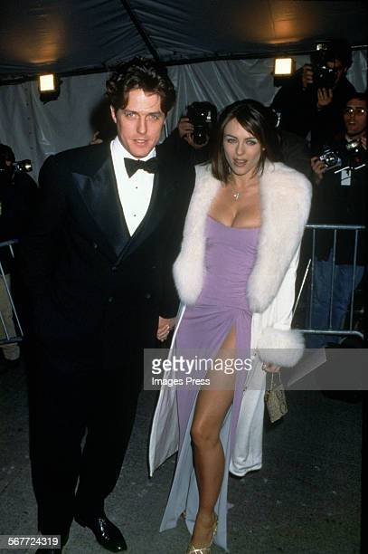 Hugh Grant and Elizabeth Hurley attend the Met Gala circa 1995 in New York City