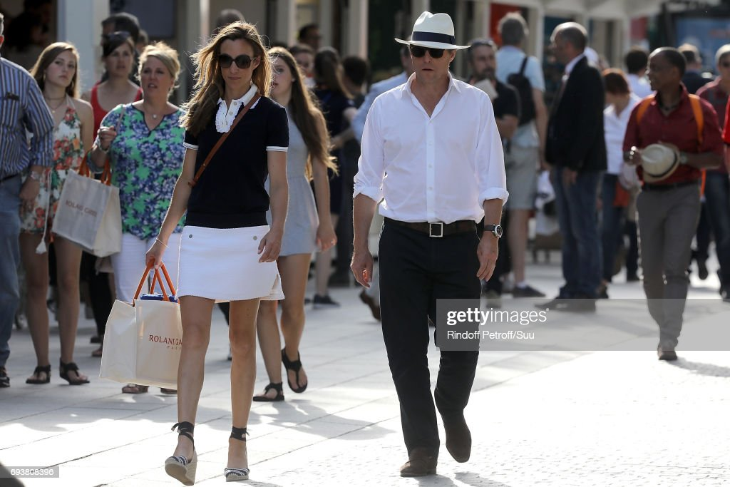 Hugh Grant and his wife Anna are spotted at Roland Garros on June 8, 2017 in Paris, France.