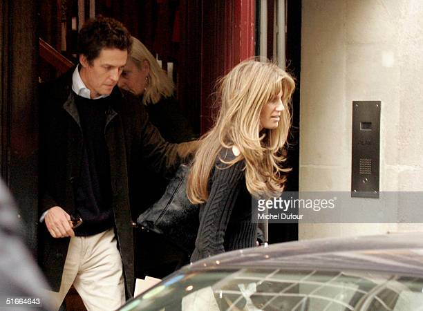 Hugh Grant and Jemima Khan step out together in Paris during Hugh's current promotional tour for Bridget Jones The Edge Of Reason on November 4 2004...