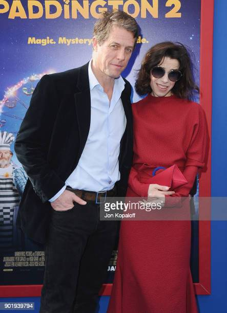 Hugh Grant and Sally Hawkins attend the Los Angeles Premiere 'Paddington 2' at Regency Village Theatre on January 6 2018 in Westwood California