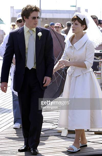 Hugh Grant and Sandra Bullock during Sandra Bullock and Hugh Grant Filming 'Two Weeks Notice' in New York City on April 16 2002 at Coney Island...