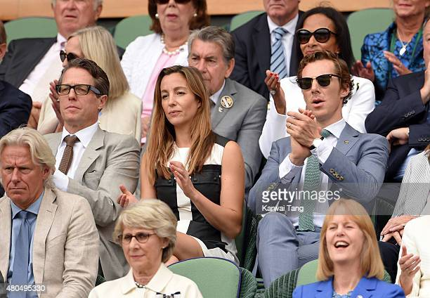 Hugh Grant, Anna Eberstein and Benedict Cumberbatch attend day 13 of the Wimbledon Tennis Championships at Wimbledon on July 12, 2015 in London,...