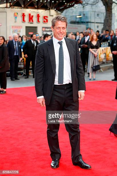 "Hugh Grant arrives for the UK film premiere Of ""Florence Foster Jenkins"" at Odeon Leicester Square on April 12, 2016 in London, England."