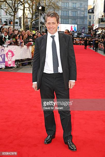Hugh Grant arrives for the UK film premiere Of 'Florence Foster Jenkins' at Odeon Leicester Square on April 12 2016 in London England