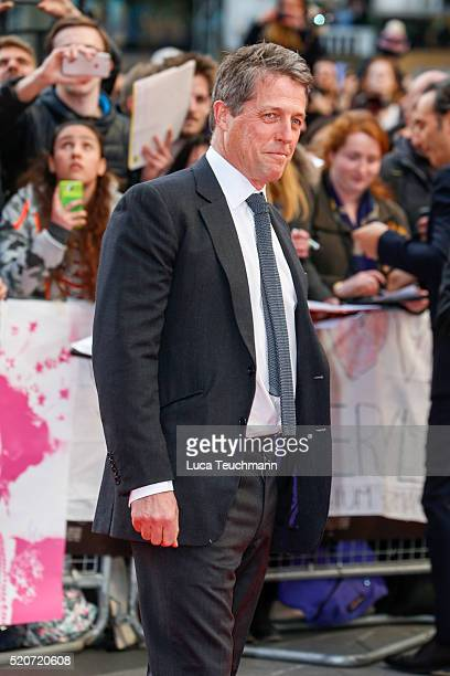 """Hugh Grant arrives for the UK film premiere Of """"Florence Foster Jenkins"""" at Odeon Leicester Square on April 12, 2016 in London, England."""
