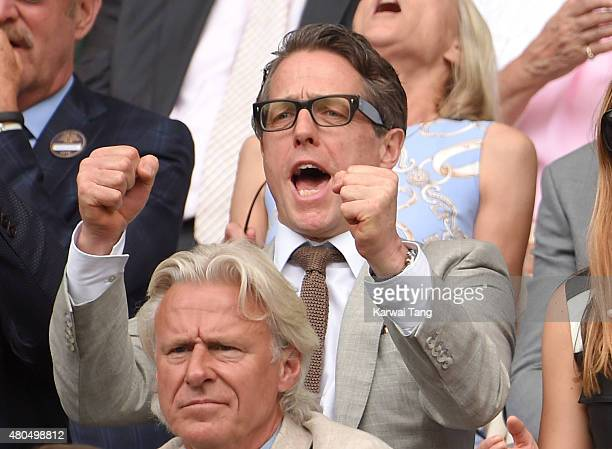 Hugh Grant attends day 13 of the Wimbledon Tennis Championships at Wimbledon on July 12 2015 in London England