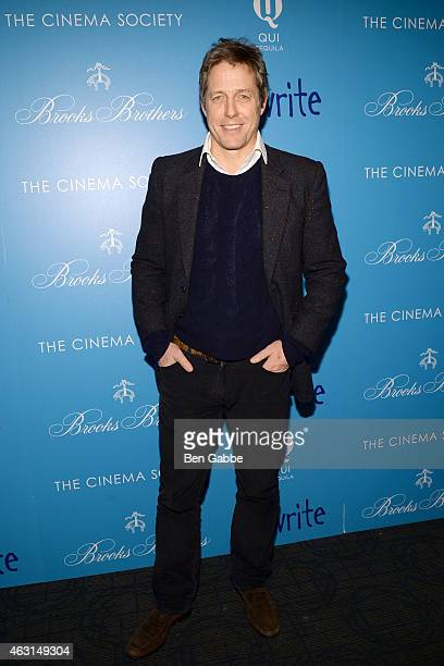 """Hugh Grant attends The Cinema Society and Brooks Brothers Host A Screening of """"The Rewrite"""" at Landmark Sunshine Cinema on February 10, 2015 in New..."""