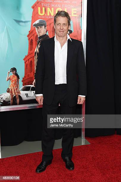 Hugh Grant attends the New York Premiere of 'The Man From UNCLE' at Ziegfeld Theater on August 10 2015 in New York City