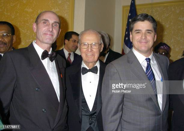 Hugh Grant Dr Norman Borlaug Sean Hannity during The Congress of Racial Equality Living The Dream Dinner January 17 2005 at The New York Hilton and...