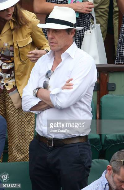 Hugh Grant during the men's final on Day 15 of the 2018 French Open at Roland Garros stadium on June 10 2018 in Paris France