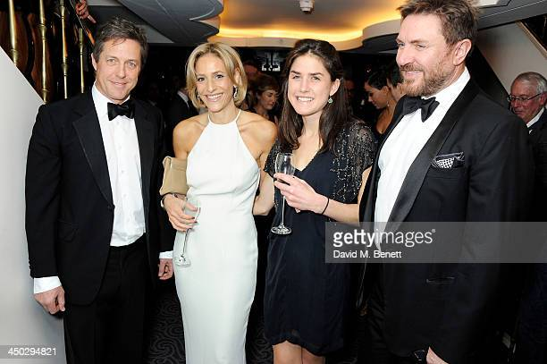 Hugh Grant Emily Maitlis guest and Simon Le Bon attend a drinks reception at the 59th London Evening Standard Theatre Awards at The Savoy Hotel on...