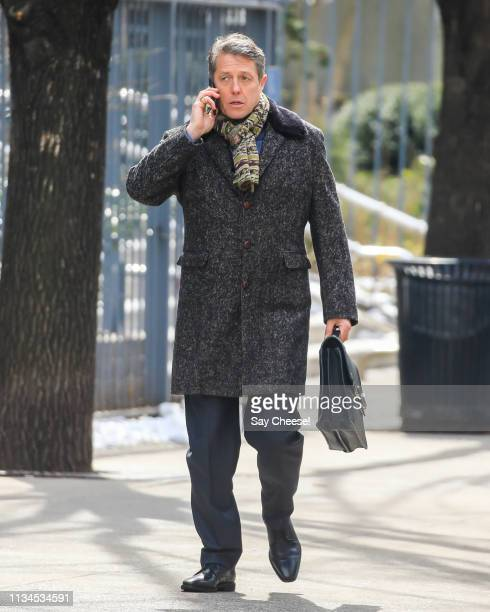 Hugh Grant is seen filming 'The Undoing' on March 08, 2019 in New York City.