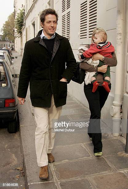 Hugh Grant is seen in Paris during his current promotional tour for Bridget Jones The Edge Of Reason on November 4 2004 in France