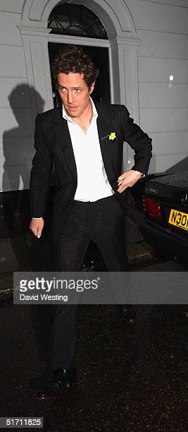 Hugh Grant leaves his home to attend the UK Premiere of Bridget Jones The Edge Of Reason UK gala premiere at the Odeon cinema Leicester Square on...
