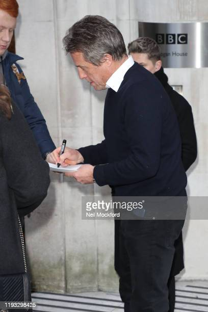 Hugh Grant leaving the BBC Radio 2 Studios on December 11 2019 in London England