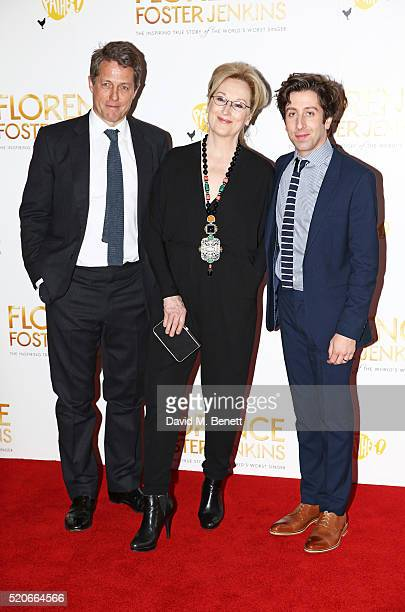 "Hugh Grant, Meryl Streep and Simon Helberg arrive for the UK film premiere Of ""Florence Foster Jenkins"" at Odeon Leicester Square on April 12, 2016..."