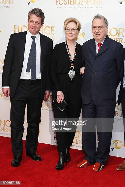 Hugh Grant Meryl Streep and Stephen Frears arrive for the UK film premiere of Florence Foster Jenkins at Odeon Leicester Square on April 12 2016 in...