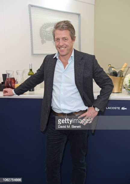 Hugh Grant poses in the Lacoste VIP Lounge during SemiFinal Day of the 2018 Nitto ATP World Tour Tennis Finals at The O2 Arena on November 17 2018 in...