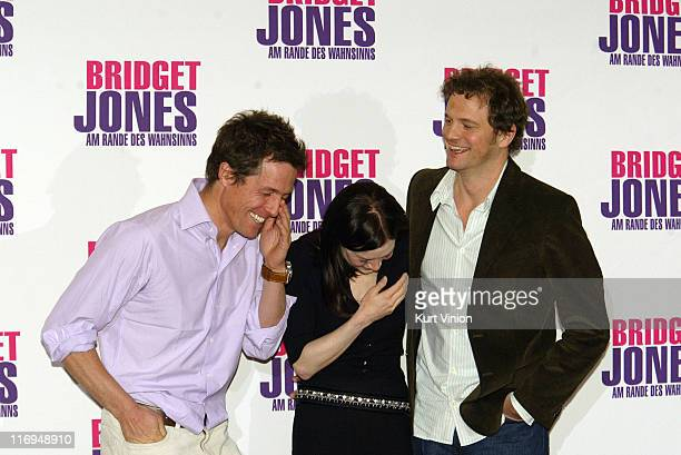 Hugh Grant Renee Zellweger and Colin Firth during Bridget Jones The Edge of Reason Berlin Photocall at Hotel Adlon in Berlin Germany