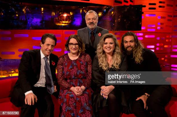 Hugh Grant Sarah Millican Graham Norton Kelly Clarkson and Jason Momoa during the filming of the Graham Norton Show at The London Studios south...
