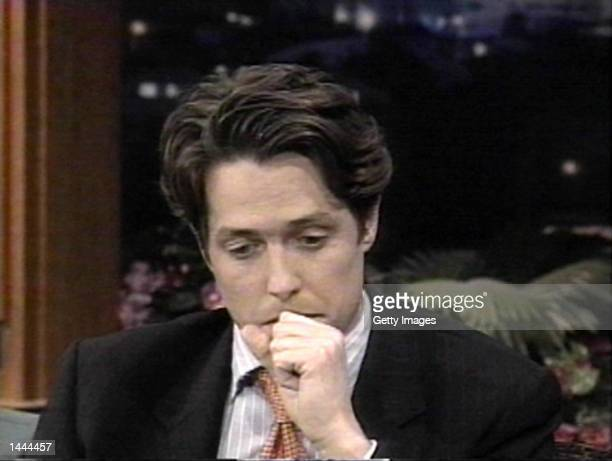 Hugh Grant talks about his arrest on The Tonight Show with Jay Leno in this file photo dated July 10 1995 in Burbank CA Grant and his girlfriend of...