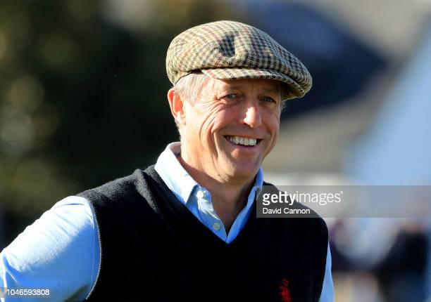 Hugh Grant the British actor beside the green on the 17th hole during the third round of the 2018 Alfred Dunhill Links Championship on The Old Course...