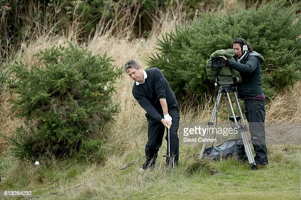 Hugh Grant the British film actor on the 17th hole during the second round of the Alfred Dunhill Links Championship on the Golf Links course...