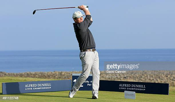 Hugh Grant the English Hollywood film actor plays his tee shot on the 12th hole during the third round of the 2015 Alfred Dunhill Links Championship...