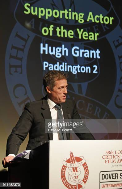 Hugh Grant winner of the Supporting Actor award for 'Paddington 2' attends the London Film Critics' Circle Awards 2018 at The May Fair Hotel on...
