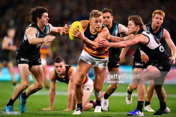 Hugh Greenwood of the Crows competes for the ball during the round eight AFL match between the Port Adelaide Power and the Adelaide Crows at Adelaide...