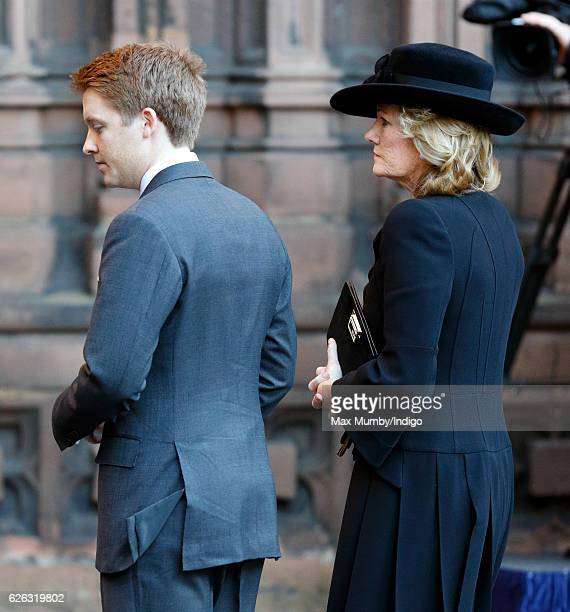 Hugh Grosvenor 7th Duke of Westminster and Natalia Grosvenor Duchess of Westminster attend a Memorial Service for Gerald Grosvenor 6th Duke of...