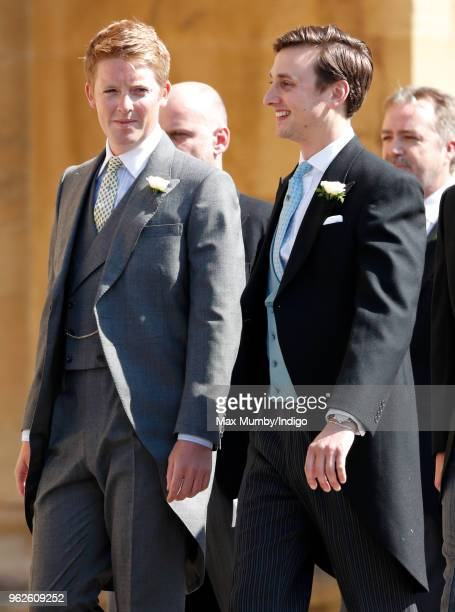 Hugh Grosvenor Duke of Westminster and Charlie van Straubenzee attend the wedding of Prince Harry to Ms Meghan Markle at St George's Chapel Windsor...