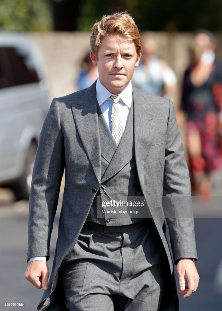 Hugh Grosvenor, Duke of Westminster attends the wedding of Charlie van Straubenzee and Daisy Jenks at the church of St Mary the Virgin on August 4, 2018 in Frensham, England. Prince Harry attended the same prep school as Charlie van Straubenzee and have been good friends ever since.