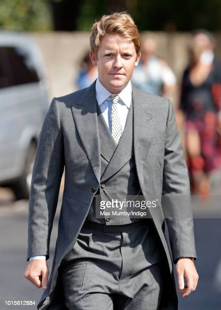 Hugh Grosvenor Duke of Westminster attends the wedding of Charlie van Straubenzee and Daisy Jenks at the church of St Mary the Virgin on August 4...