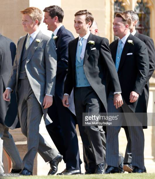 Hugh Grosvenor Duke of Westminster Jake Warren Charlie van Straubenzee and Arthur Landon attend the wedding of Prince Harry to Ms Meghan Markle at St...