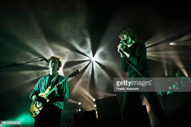Hugh Harris and Luke Pritchard of the British band The Kooks perform live on stage during a concert at the Columbiahalle on May 18 2017 in Berlin...