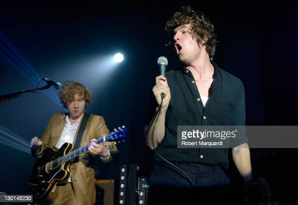 Hugh Harris and Luke Pritchard of The Kooks perform on stage at the Razzmatazz on October 23 2011 in Barcelona Spain