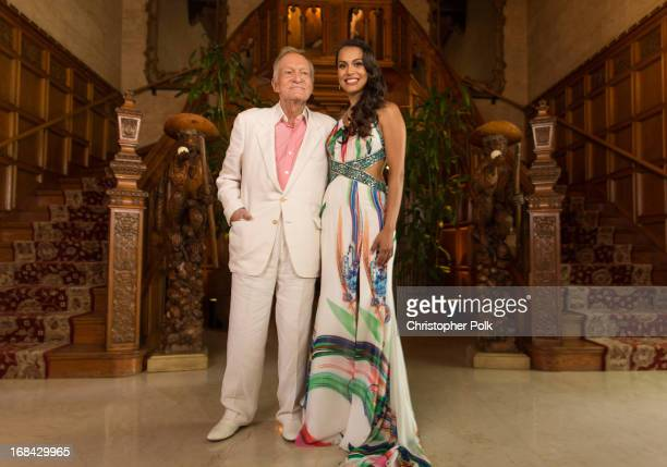 Hugh Hefner and 2013 Playmate Of The Year Raquel Pomplun pose for a portrait during Playboy's 2013 Playmate Of The Year luncheon at The Playboy...