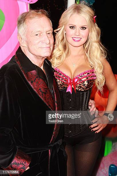 Hugh Hefner and Anna Sophia Berglund pose at the 6th Annual Kandyland Event at The Playboy Mansion on June 25 2011 in Beverly Hills California