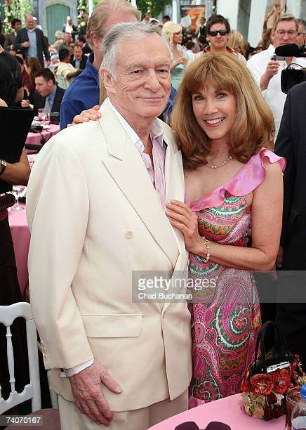 Hugh Hefner and Barbi Benton attend the 2007 Playmate of the Year party at the Playboy Mansion on May 3 2007 in Los Angeles California