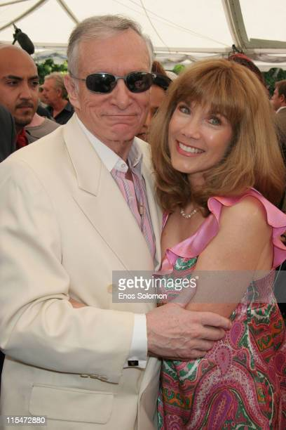 Hugh Hefner and Barbi Benton during Sara Jean Underwood Crowned 2007 Playmate of the Year at Playboy Mansion in Bel Air California United States